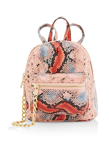 Small Snake Print Backpack,PINK,large