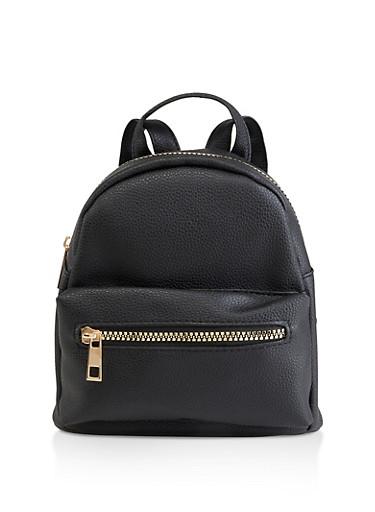 Mini Faux Leather Backpack | 3124067449005,BLACK,large