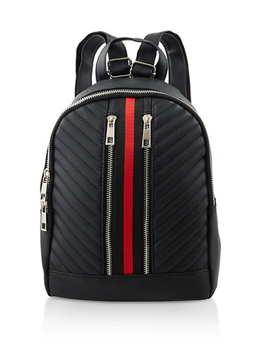 Striped Detail Backpack,BLACK,large