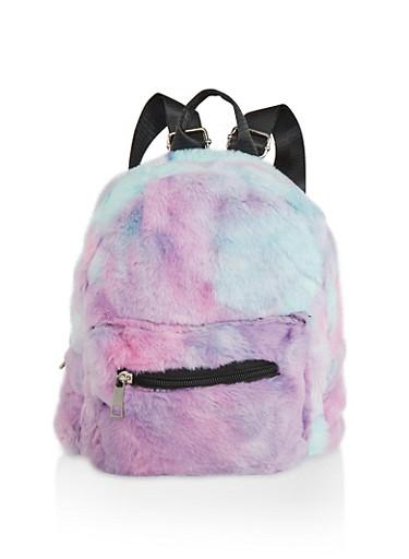 Tie Dye Faux Fur Backpack,PINK,large