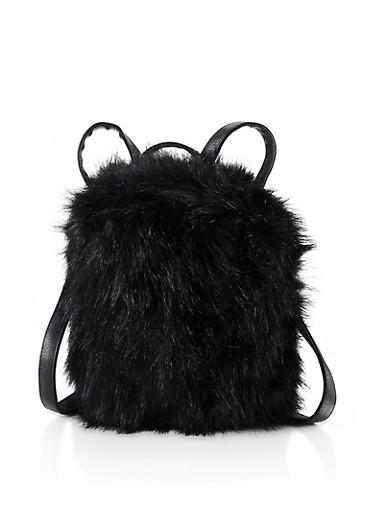 Faux Fur Backpack,BLACK,large