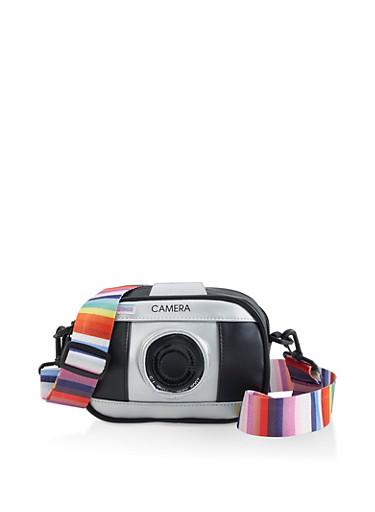 Camera Faux Leather Crossbody Bag,BLACK,large