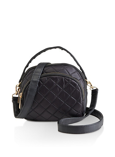 Quilted Nylon Crossbody Bag,BLACK,large