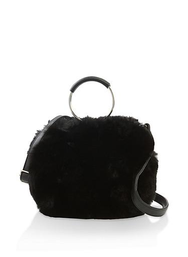 Circular Faux Fur Crossbody Bag,BLACK,large