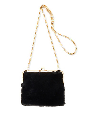 Faux Fur Kiss Lock Crossbody Bag,BLACK,large