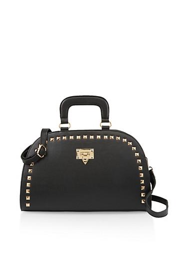 Studded Dome Handbag,BLACK,large