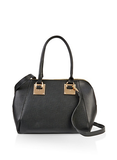 Double Zip Handbag,BLACK,large