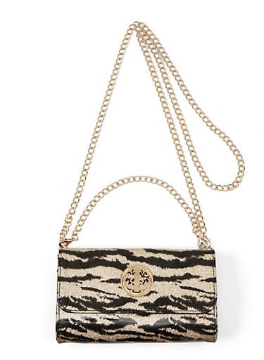 Glitter Tiger Print Crossbody Bag,BLACK,large