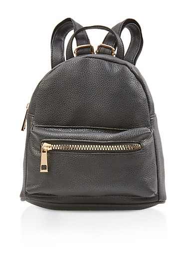 Faux Pebbled Leather Mini Backpack,BLACK,large
