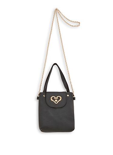 Heart Detail Faux Leather Crossbody Bag,BLACK,large