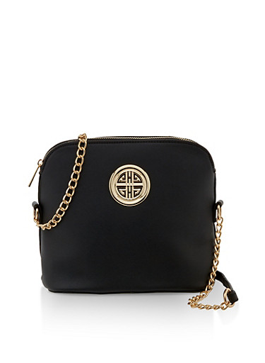 Metallic Emblem Crossbody Bag,BLACK,large