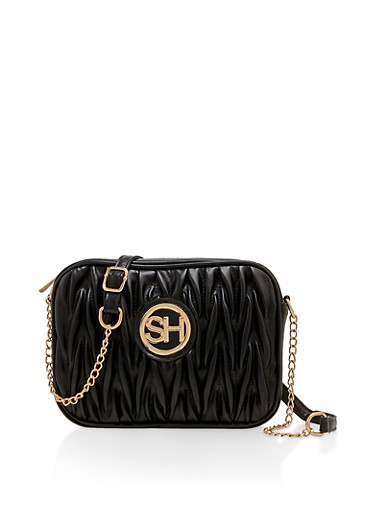 Ruched Faux Leather Crossbody Bag,BLACK,large