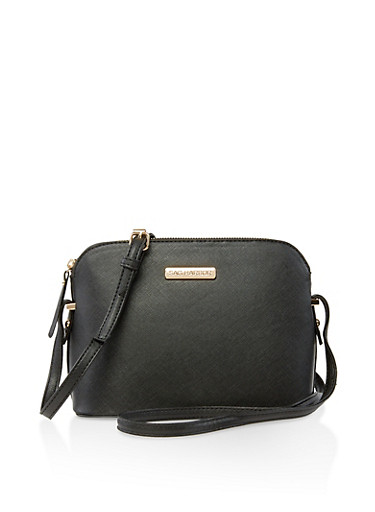 Sag Harbor Faux Textured Leather Crossbody Bag,BLACK,large