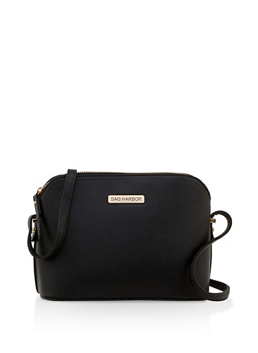 Faux Saffiano Leather Crossbody Bag,BLACK,large
