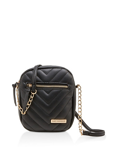 Sag Harbor Quilted Faux Leather Crossbody Bag,BLACK,large