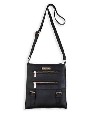 Sag Harbor Faux Leather Crossbody Bag,BLACK,large