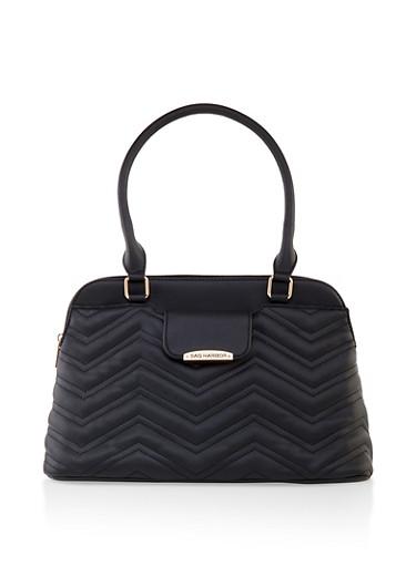 Quilted Handbag,BLACK,large