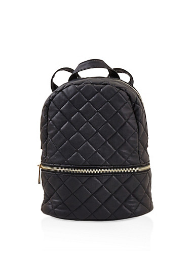 Small Quilted Double Zip Backpack,BLACK,large