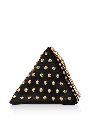 Studded Pyramid Wristlet,BLACK,large