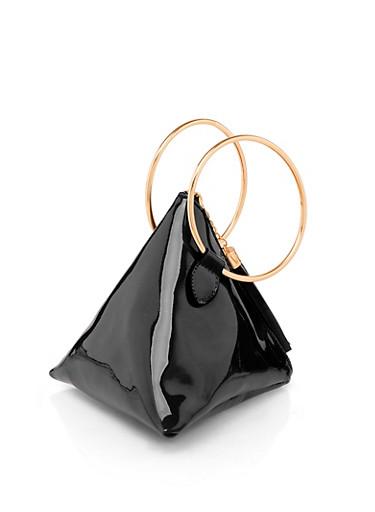 Faux Patent Leather Pyramid Wristlet,BLACK,large