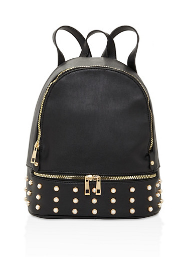Faux Pearl Zipper Backpack,BLACK,large