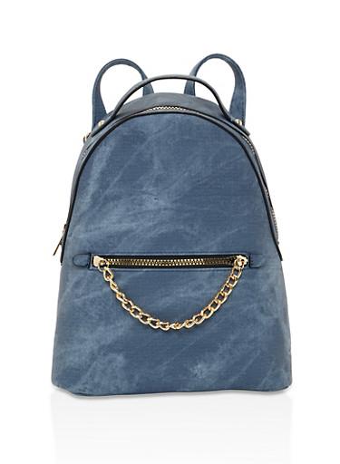 Chain Link Detail Backpack,DENIM,large
