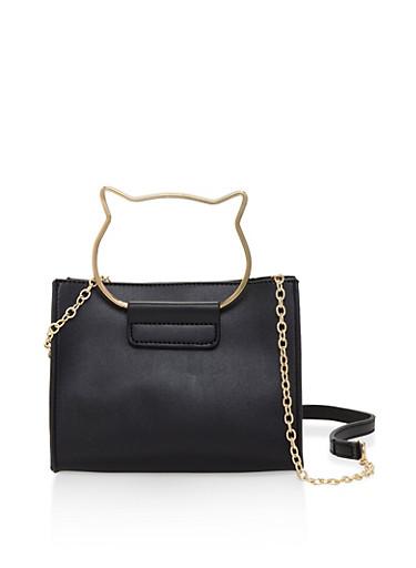 Metallic Cat Ear Handle Crossbody Bag,BLACK,large