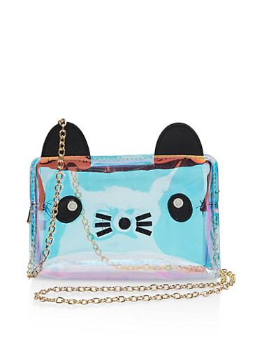 Iridescent Cat Graphic Crossbody Bag,GOLD,large