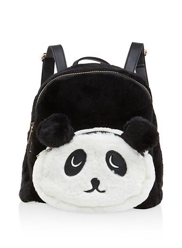 Faux Fur Panda Backpack,BLACK,large