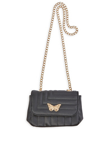 Butterfly Detail Quilted Crossbody Bag,BLACK,large