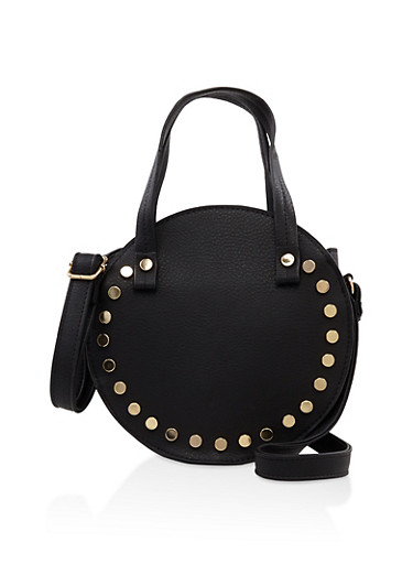 Studded Round Crossbody Bag,BLACK,large