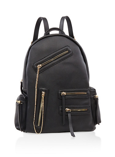 Multi Zip Faux Leather Backpack,BLACK,large