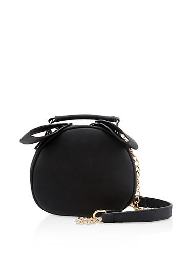 Round Chain Crossbody Bag,BLACK,large