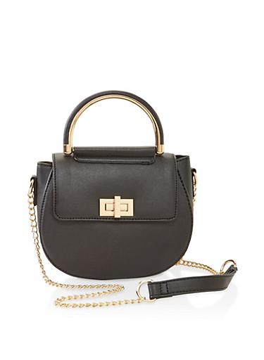 Faux Leather Saddle Crossbody Bag,BLACK,large