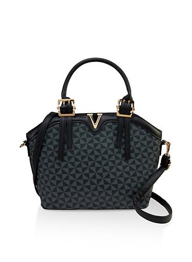 Printed Faux Leather Crossbody Handbag,BLACK,large