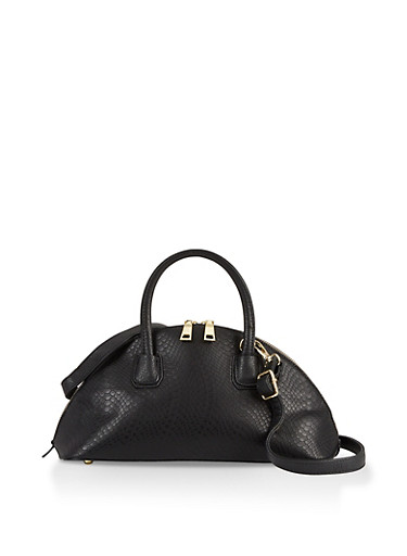 Faux Leather Half Moon Crossbody Bag,BLACK,large