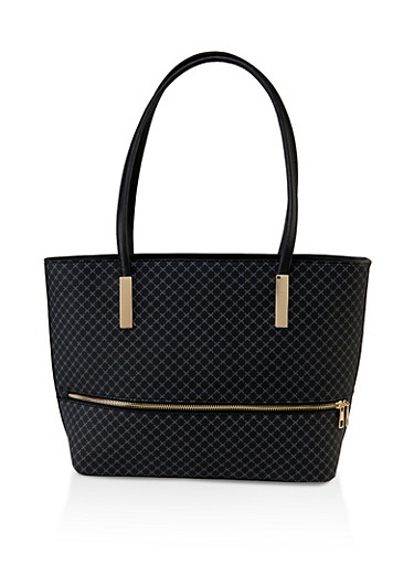 Printed Textured Faux Leather Tote Bag,BLACK,large
