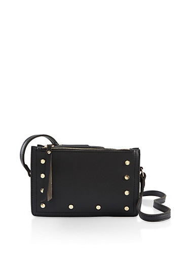 Studded Triple Zip Crossbody Bag,BLACK,large