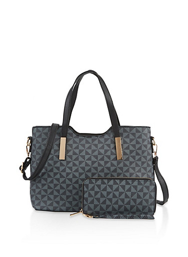 Printed Faux Leather Tote Bag with Wallet,BLACK,large