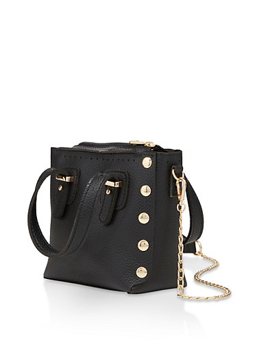 Small Studded Chain Crossbody Bag,BLACK,large