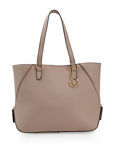 Faux Leather Zipper Detail Tote Bag,NUDE,large