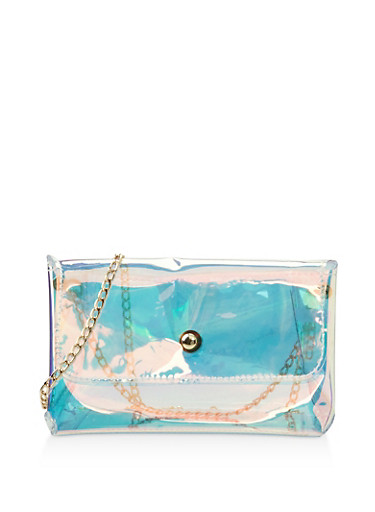 Holographic Chain Crossbody Bag,GOLD,large