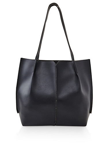 Stitched Faux Leather Tote Bag,BLACK,large