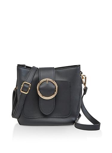 Large Buckle Crossbody Bag,BLACK,large
