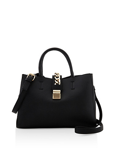 Textured Faux Leather Chain Flap Tote,BLACK,large