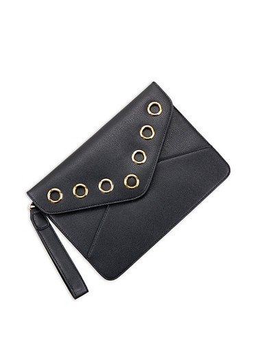 Faux Leather Grommet Envelope Clutch,BLACK,large