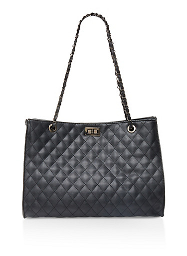 Large Quilted Tote Bag,BLACK,large