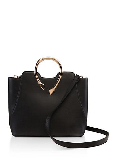 Metallic Handle Faux Leather Tote Bag,BLACK,large