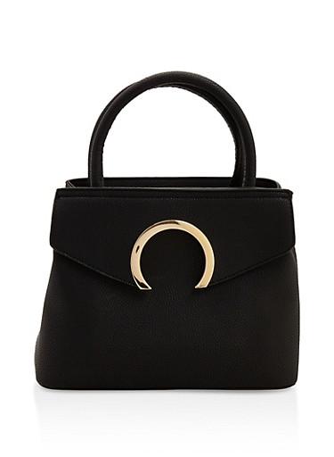 Faux Textured Leather Handbag,BLACK,large