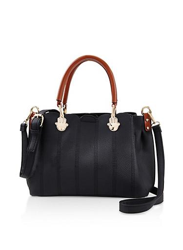 Faux Textured Leather Scallop Trim Handbag,BLACK,large